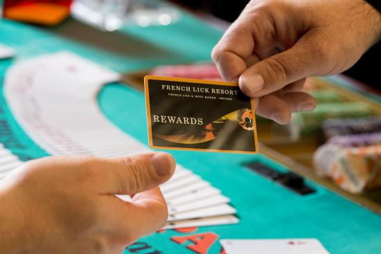 French Lick Casino: Be sure to get a rewards card at the Player Services counter.