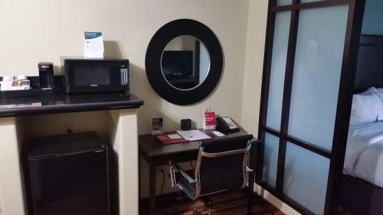 Comfort Suites Topeka: Fridge, Microwave, coffee maker, desk area