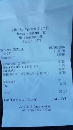 Liberty Tap Room: Copy of our check