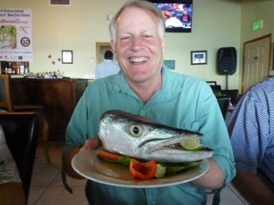 Swain's Cay Lodge: My buddies served me a special meal with Cheryl's help.