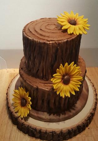 Tree stump and sunflower wedding cake. All edible - Picture of My ...