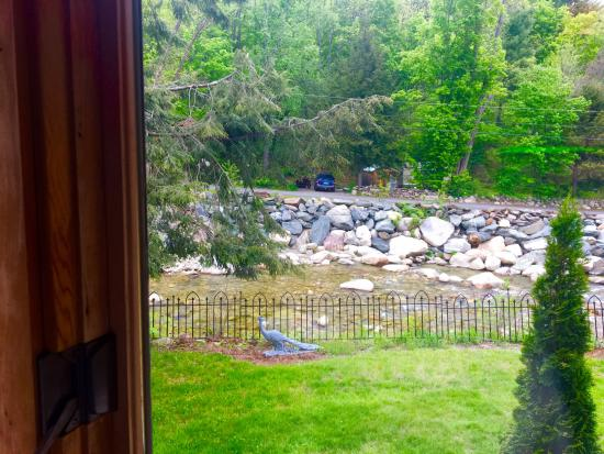 Jamaica, VT: The view from my table of the brook.
