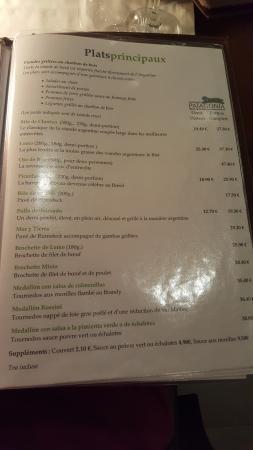 Patagonia Beef & Wine: La carte
