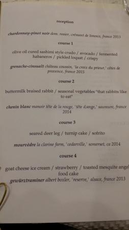 Lenoir: Unique menu for our group