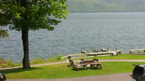 Candlelight Cottages LLC on Lake George: The fire pit and docks
