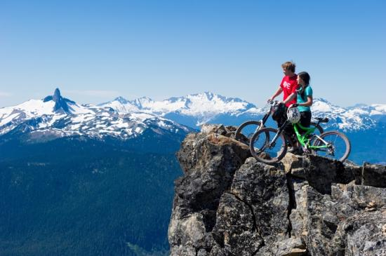 Biking on the Top of the World Trail on Whistler Mountain