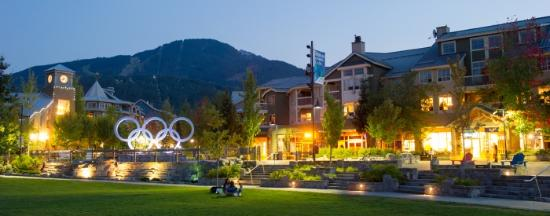 Whistler Olympic Plaza at dusk