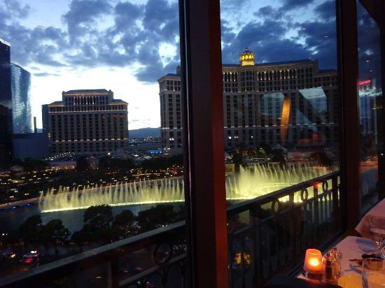 Eiffel Tower Restaurant At Paris Las Vegas View Of The Bellagio Fountains