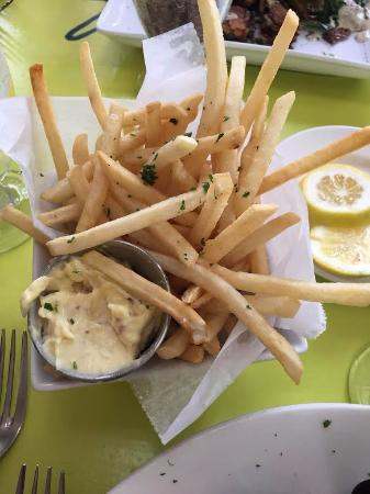 Bellport, NY: The fries and delicious garlic mayo dip