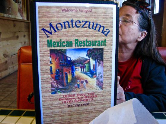 menu cover picture of montezuma mexican restaurant dolores