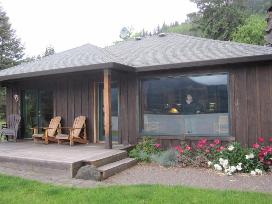 "Skamania Coves Resort: The front porch of ""The Riverhouse"" home which faces the Columbia River"