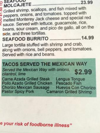 Geneseo, IL: You know it's authentic when Langua (tongue) tacos are in the menu!!!