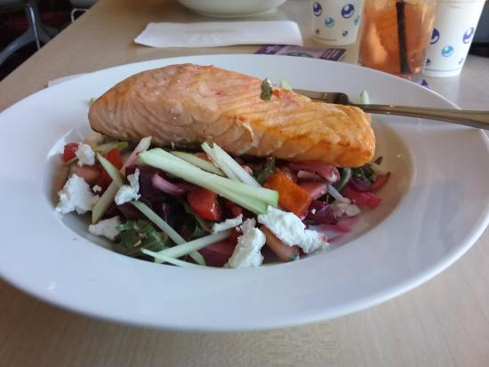 Tewantin, Australien: Salmon and honey roasted pumpkin, beetroot, apple, pear, goats cheese, honeyed walnuts and macad