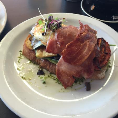 Terrigal, Australia: Haloumi and Mushroom stack - added bacon and an egg - Bliss :)