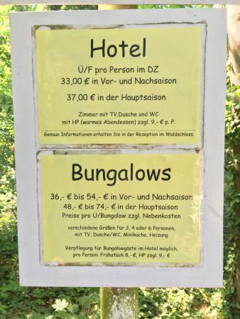 Koserow, Tyskland: Preise laut Aushang am Strandzugang
