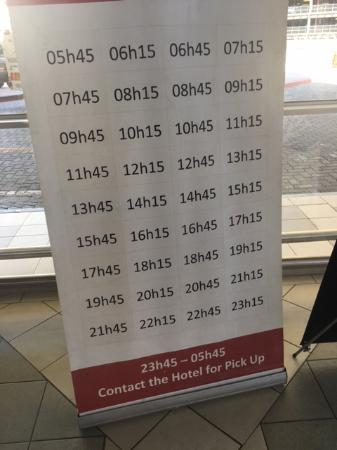The Aviator Hotel OR Tambo: Signage on airport for bus timings