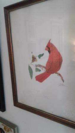 River House at Chimney Rock: There were two paintings of Cardinals which were my grandma Avis' favorite birds! Happy memories