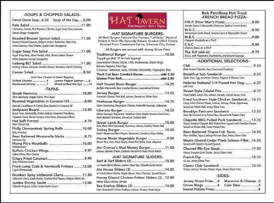 The HAT Tavern: Menu