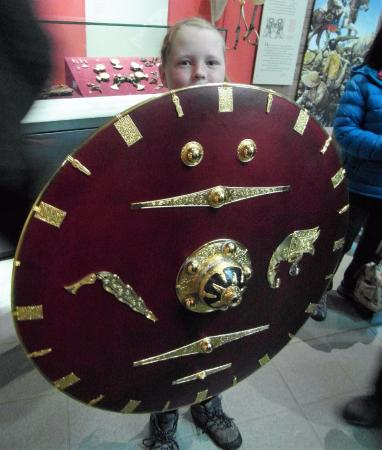 Woodbridge, UK: My daughter holding a replica shield