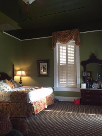 Menger Hotel: View from the siting area of the spacious room and bed.