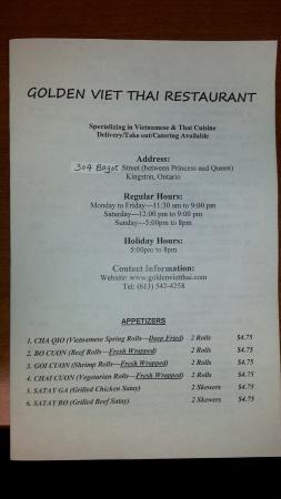 Page 1 Of Menu Picture Of Golden Viet Thai Restaurant Kingston Tripadvisor