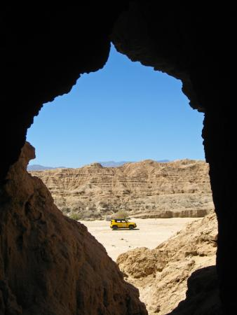 California Overland Desert Excursions: Looking back from mud cave