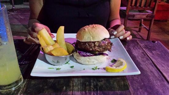 The Lodge Steak & Seafood Co.: Burger and three times cooked chips