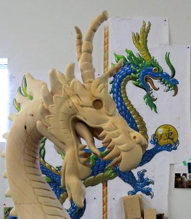 Albany, OR: Dragon being created from design plans