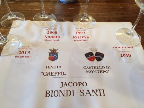 Montalcino, Italy: vinhos degustados