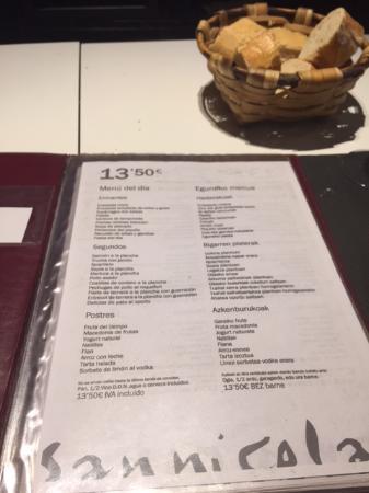 Carta del menu fotograf a de san nicol s la cocina vasca for Cocina vasca pamplona
