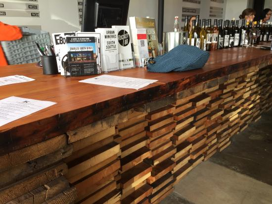 Charles Smith Wines Jet City: Stacked Reclaimed Wood Counter