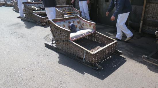 Wicker Toboggan Sled Ride: Wicker Basket Chairs On Wooden Runners