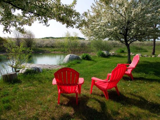 Country Hermitage Bed and Breakfast Traverse City: Chairs by Pond