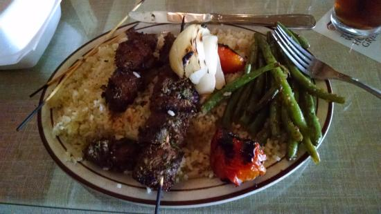 Post Falls, ID: Lamb Kabobs over rice with beans