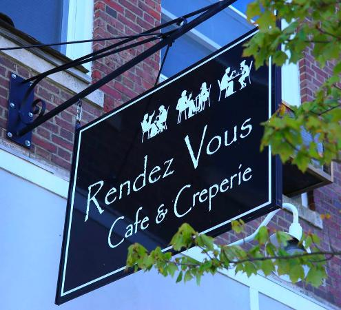 Rendez Vous Cafe & Creperie: Out front.