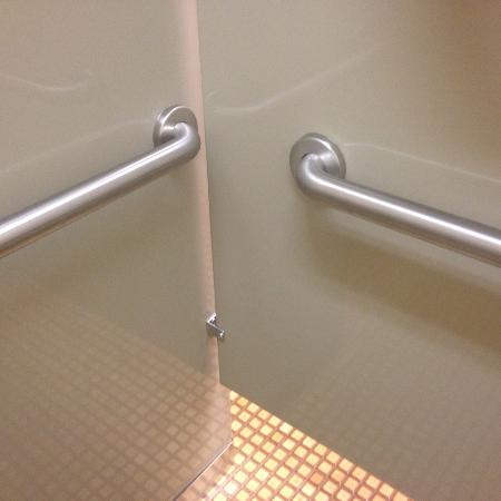 Depoe Bay, OR: sturdy safety grab rails in toilet stalls