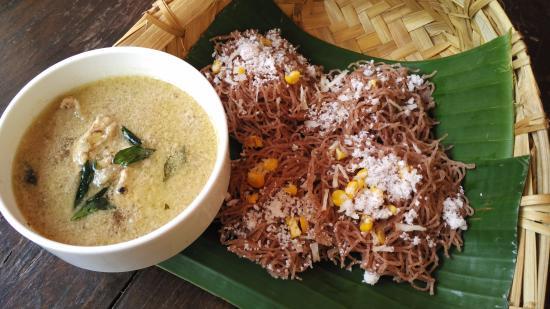 Anjuna, India: Idiyappam, also known as Nooputt, Putumayam or string hoppers is a traditional Tamil, Kerala, Ko