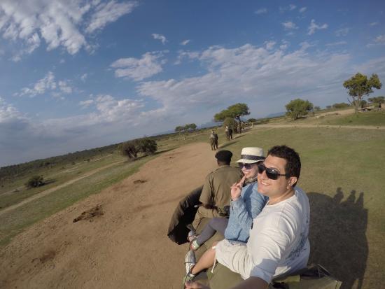 Hoedspruit, Güney Afrika: Durante o passeio em cima do elefante.
