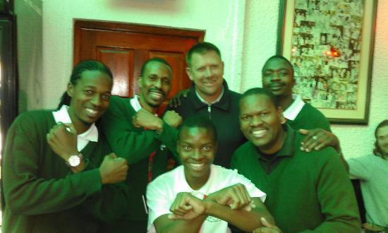 Restaurante Parreirinha: Eric Tinkler with some very excited Orlando Pirates supporters....