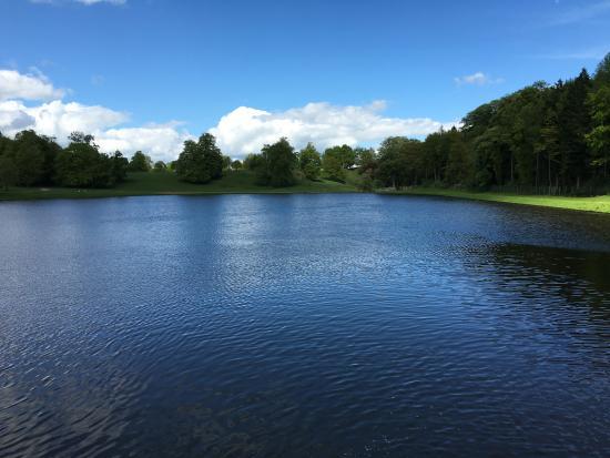 Ripon, UK: view across the lake near Studley Royal