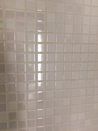 TILES OUTSIDE OF THE SHOWER NICE AND CLEAN WITH NICE WHITE GROUT - Cleaning white grout in shower