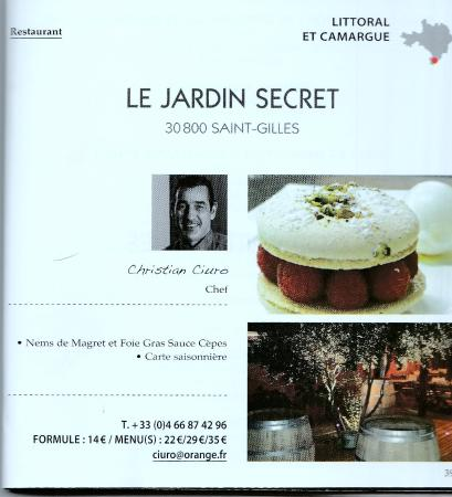 Restaurant le jardin secret dans saint gilles for O jardin secret suresnes