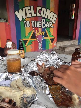 Westmoreland Parish, Jamaica: Chicken , hot sauce and Red Stripe <3