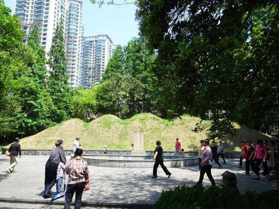 Shanghai Xu Guangqi Tomb: Dancing in the park in front of the burial mounds of Xu Guangqi and his family.