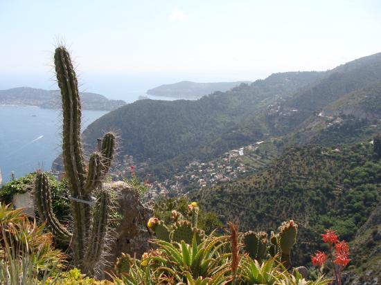 Eze, France: View of the cactus garden and the coast