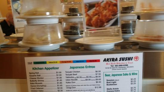 Clackamas, OR: Menu and passing sushi conveyor