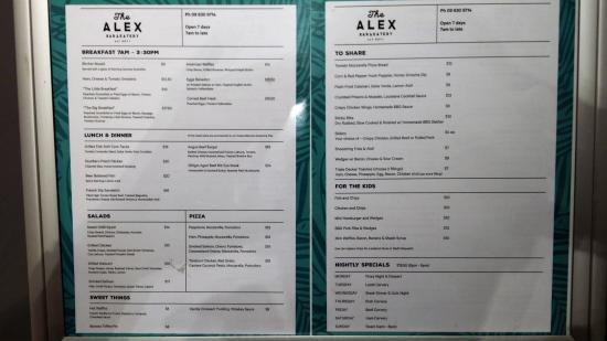 Epsom, Selandia Baru: The Alex menu