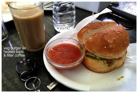 Vaishali Restaurant: Veg Burger and Filter Coffee