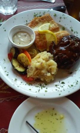 Martha's Leelanau Table: White fish & sirloin.