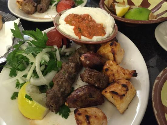 late night dinner with my wife . I had the mix kebab and my wife had the roast lamb as expected